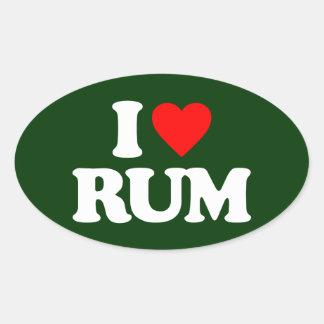 I LOVE RUM OVAL STICKER