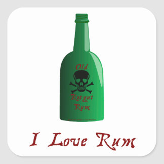 I love Rum Square Sticker
