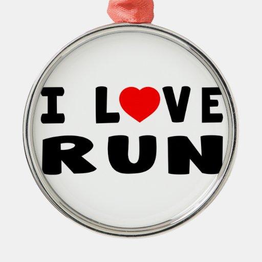 I Love Run Ornaments