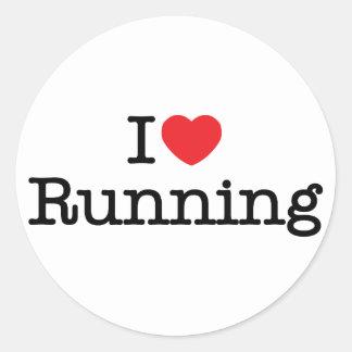 I love running classic round sticker