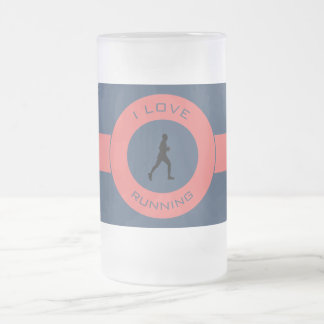 I LOVE RUNNING FROSTED GLASS BEER MUG