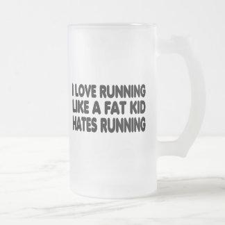 I Love Running Frosted Glass Beer Mug