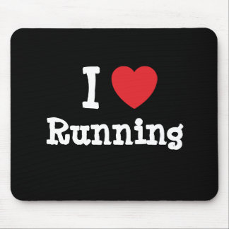 I love Running heart custom personalized Mouse Mats