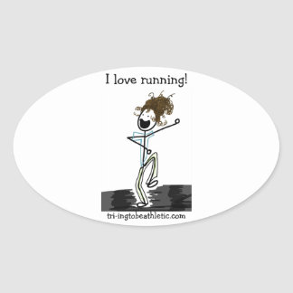 I love running! oval stickers