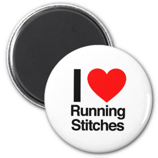 i love running stitches refrigerator magnet