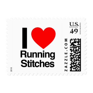 i love running stitches postage stamps
