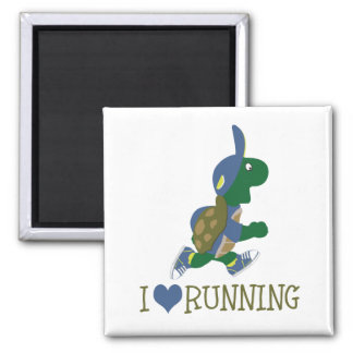 I love running turtle 2 inch square magnet