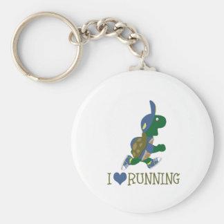 I love running turtle basic round button keychain