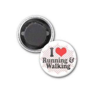 I love Running & Walking 1 Inch Round Magnet