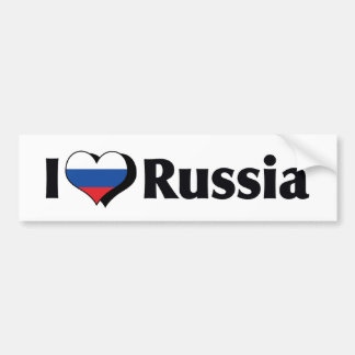 I Love Russia Flag Bumper Sticker