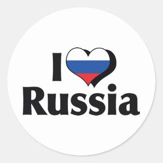 I Love Russia Flag Classic Round Sticker