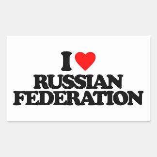 I LOVE RUSSIAN FEDERATION RECTANGLE STICKER