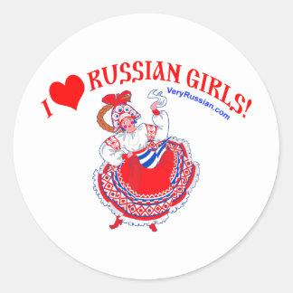 I love Russian Girls Classic Round Sticker