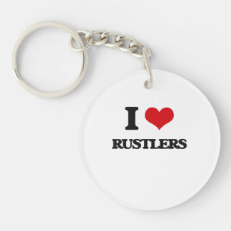 I Love Rustlers Single-Sided Round Acrylic Keychain