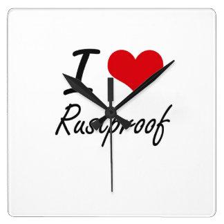 I Love Rustproof Square Wallclock