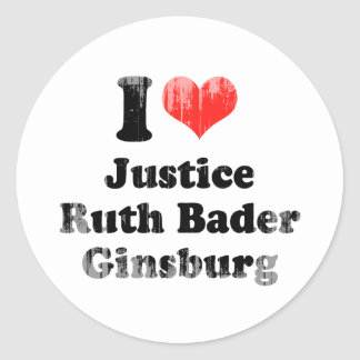 I LOVE RUTH BADER GINSBURG.png Classic Round Sticker
