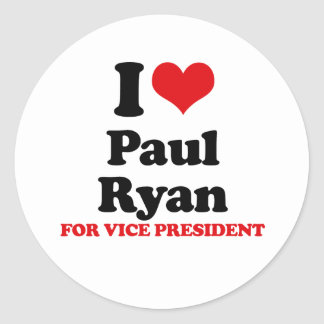 I LOVE RYAN FOR VICE PRESIDENT RED png Stickers