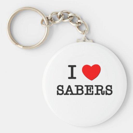 I Love Sabers Basic Round Button Keychain