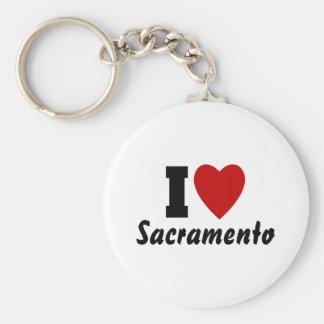 I Love Sacramento Basic Round Button Keychain
