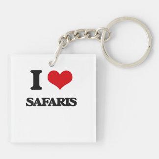 I Love Safaris Double-Sided Square Acrylic Keychain