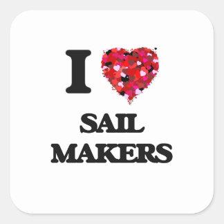 I love Sail Makers Square Sticker