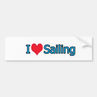I Love Sailing Car Bumper Sticker