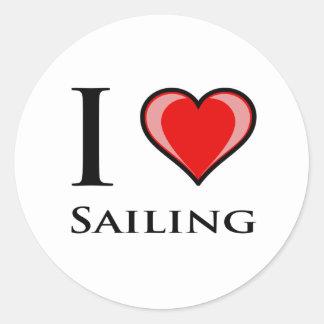 I Love Sailing Classic Round Sticker