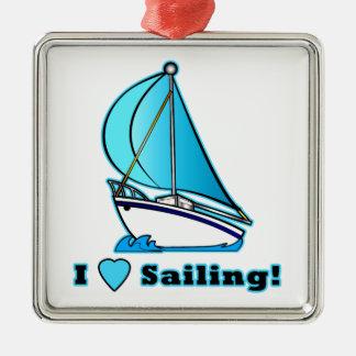 I Love Sailing! Metal Ornament