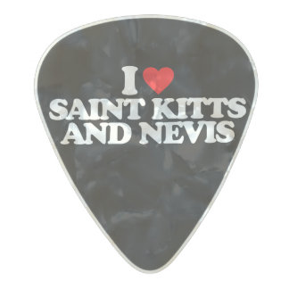 I LOVE SAINT KITTS AND NEVIS PEARL CELLULOID GUITAR PICK