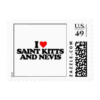 I LOVE SAINT KITTS AND NEVIS POSTAGE STAMP