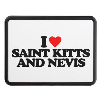 I LOVE SAINT KITTS AND NEVIS TRAILER HITCH COVERS