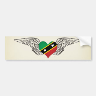 I Love Saint Kitts and Nevis -wings Car Bumper Sticker