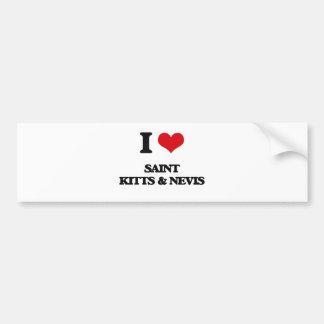 I Love Saint Kitts & Nevis Car Bumper Sticker