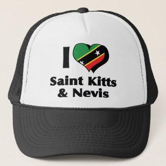 I Love Saint Kitts & Nevis Flag Trucker Hat