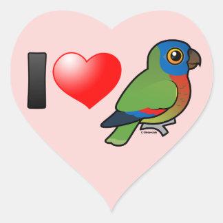 I Love Saint Lucia Parrots Heart Sticker