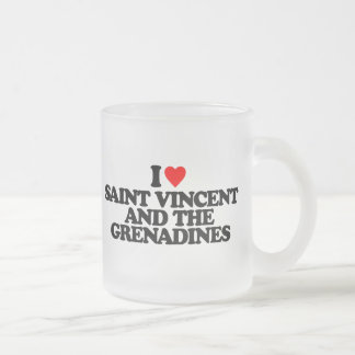 I LOVE SAINT VINCENT AND THE GRENADINES 10 OZ FROSTED GLASS COFFEE MUG