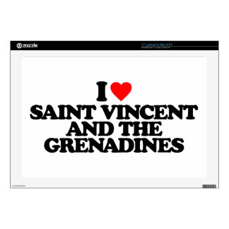 """I LOVE SAINT VINCENT AND THE GRENADINES DECALS FOR 17"""" LAPTOPS"""