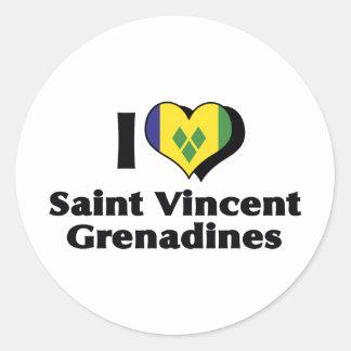I Love Saint Vincent Grenadines Flag Round Sticker
