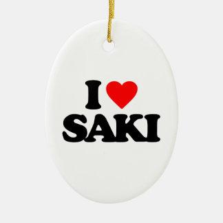 I LOVE SAKI Double-Sided OVAL CERAMIC CHRISTMAS ORNAMENT