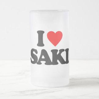 I LOVE SAKI GLASS BEER MUG