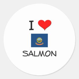 I Love SALMON Idaho Classic Round Sticker