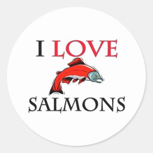 I Love Salmons Round Stickers