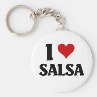 I love salsa basic round button keychain