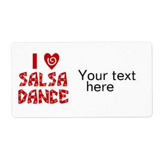 I Love Salsa Dance Custom Dancing Lover Label