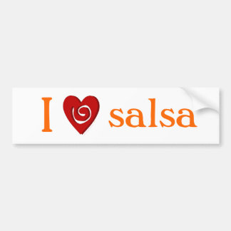 I Love Salsa Dance Swirled Heart White Car Bumper Sticker