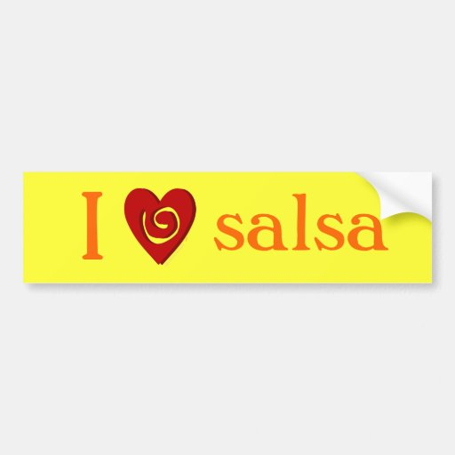 I Love Salsa Dancing Heart Yellow Bumper Sticker