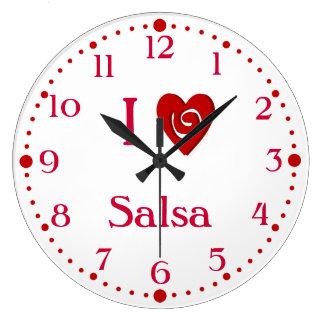 I Love Salsa Heart Latin Dance Clock W/ Minutes