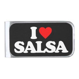 I LOVE SALSA SILVER FINISH MONEY CLIP