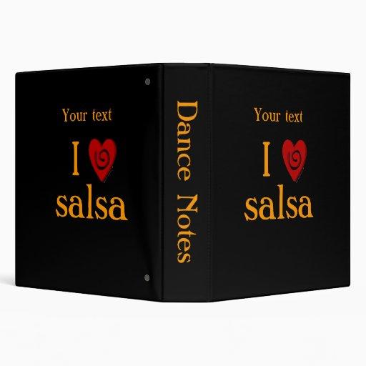 I Love Salsa Swirl Heart Latin Dancing Custom 3 Ring Binder
