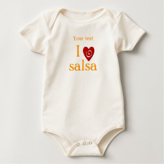 I Love Salsa Swirl Heart Latin Dancing Custom Baby Bodysuit